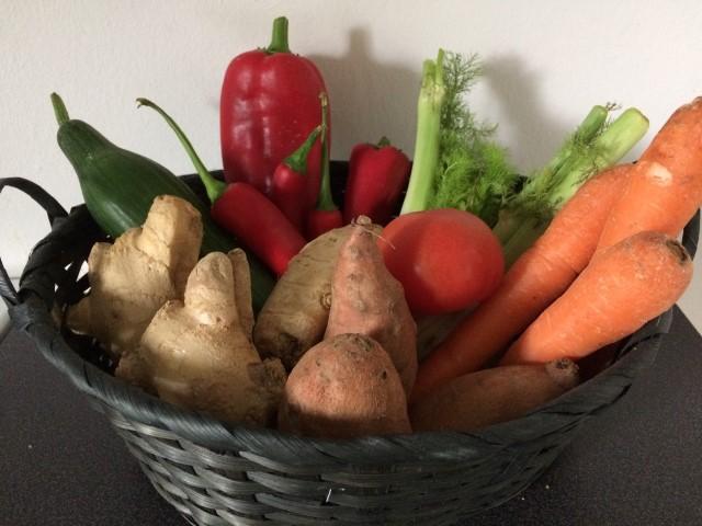 Hjemmehøstet frugt og grønt