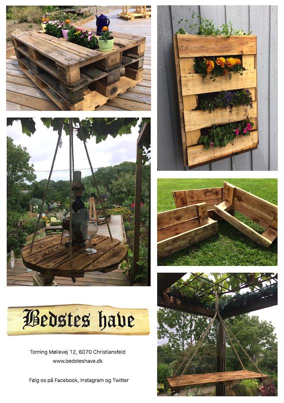 Paller som hylder og møbler i haven